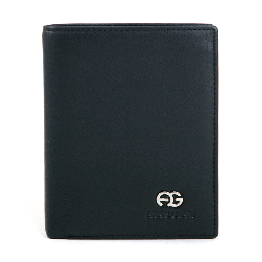 Black Anais Gvani Men's Genuine Top Grain Leather Wallet