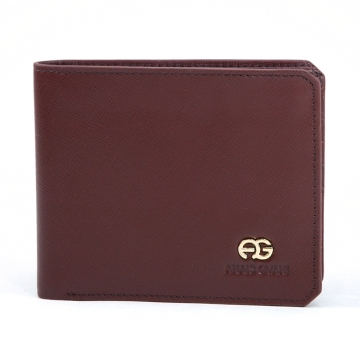 Anais Gvani ® Men's Genuine Fine Grain Leather Wallet with Cut-off Corner Style - Brown