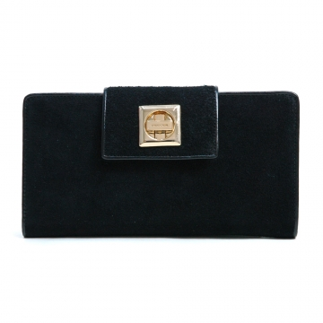 Anais Gvani ® Women's Suede & Genuine Leather Checkbook Wallet with Twist Lock Closure - Black