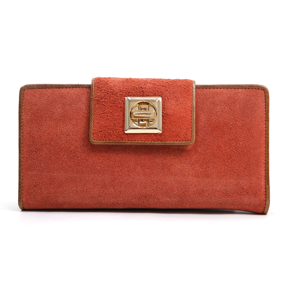 Anais Gvani® Bennette Park Turn-Lock Suede & Genuine Leather Wallet