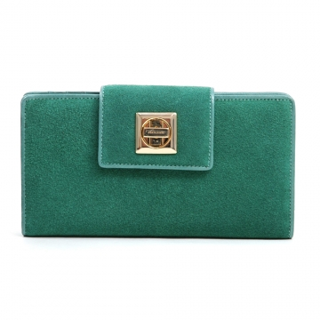 Anais Gvani ® Women's Suede & Genuine Leather Checkbook Wallet with Twist Lock Closure - Green