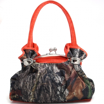 Camouflage satchel bag w/ floral embossed trim & handles