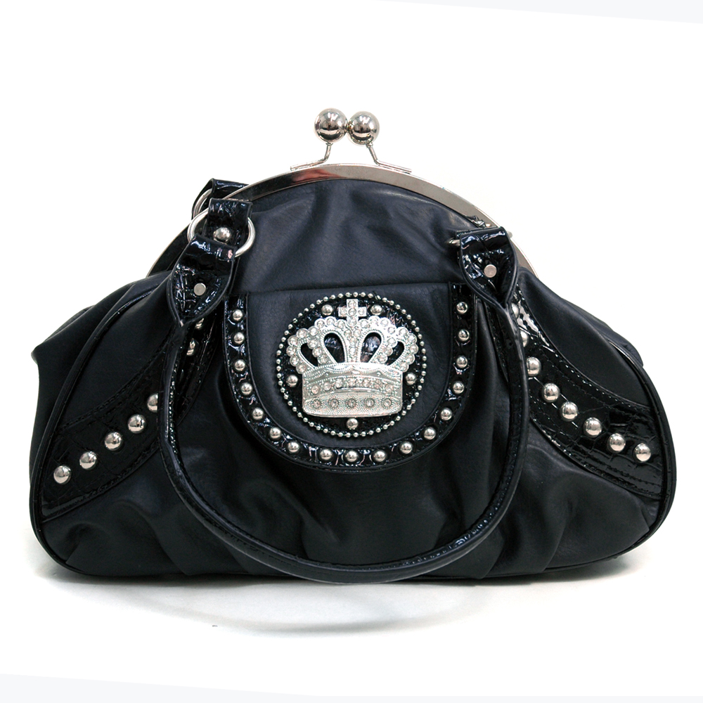 Ustyle Studded Croco Texture Satchel Bag with Rhinestone Crown-Black/Croco