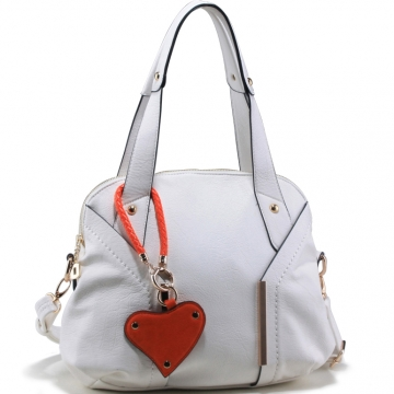 Emperia Fashion Satchel Bag with Orange Heart Charm-White/Orange Charm