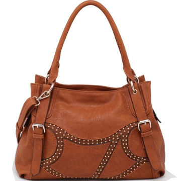 Emperia Two-Toned Fashion Shoulder Bag with Rounded Stud Accents-Orange Brown
