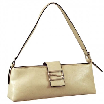 Vani Designer Inspired Fine Textured Classic Shoulder Bag with Front Metal Buckle-Beige