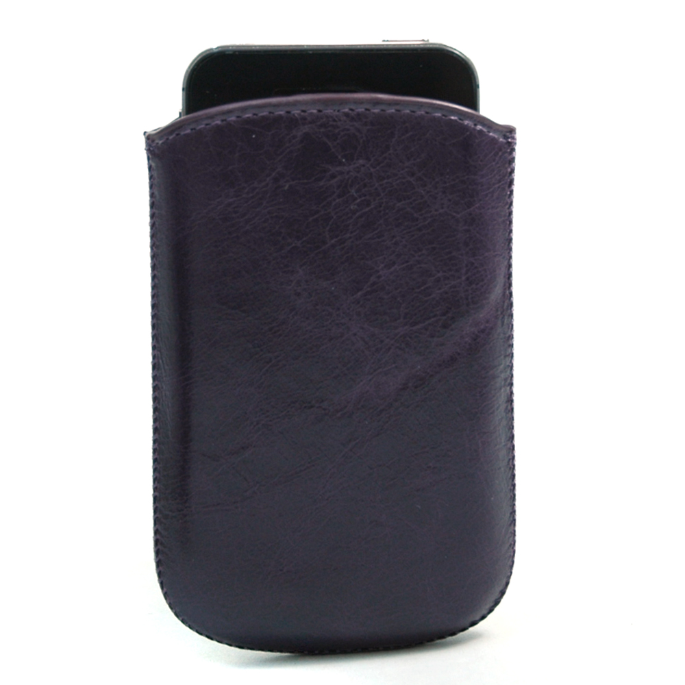 Unisex Sleek Genuine Leather Slip-in Phone Case/ Compatible / iPhone 4/4S