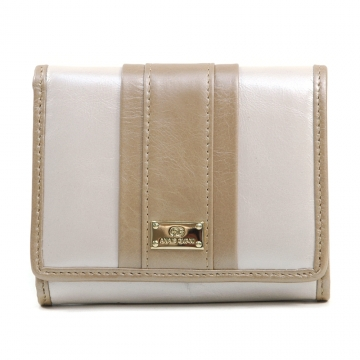 Anais Gvani ® Women's Petite Genuine Leather Tri-fold Wallet with Color Blocking Style - Light Beige/Tan