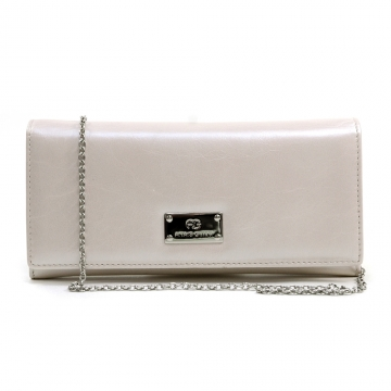 Anais Gvani ® Women's Genuine Italian Leather Clutch Style Wallet with Bonus Chain Strap - Light Beige