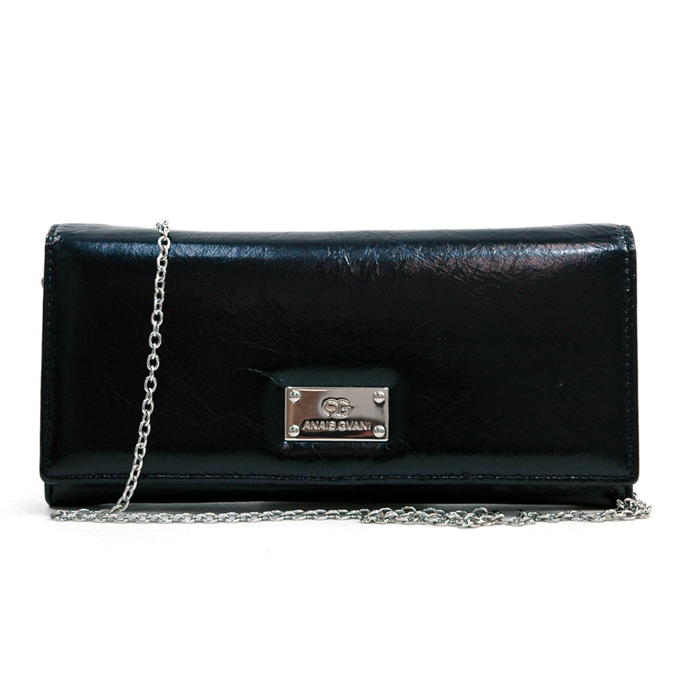 Anais Gvani ® Women's Genuine Italian Leather Clutch Style Wallet with Bonus Chain Strap