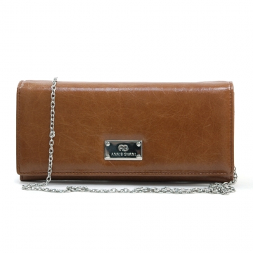 Anais Gvani ® Women's Genuine Italian Leather Clutch Style Wallet with Bonus Chain Strap - Brown