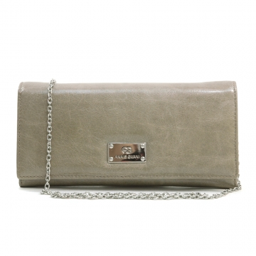 Anais Gvani ® Women's Genuine Italian Leather Clutch Style Wallet with Bonus Chain Strap - Grey