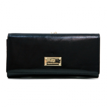Anais Gvani ® Women's Genuine Leather Clutch Style Wallet with Kiss-lock Closure - Black