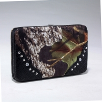 Mossy Oak® Camouflage Purse Snap Canvas Wallet Frame Wallet with Faux Leather Croco Trim