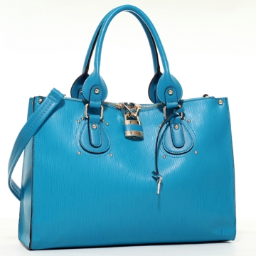 Emperia Studded Fashion Tote Bag with Lock Accent & Bonus Strap - Turquoise