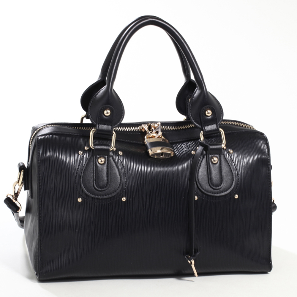 Emperia Studded Fashion Satchel Bag with Lock Accent & Bonus Strap