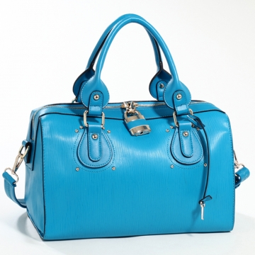 Emperia Studded Fashion Satchel Bag with Lock Accent & Bonus Strap - Turquoise