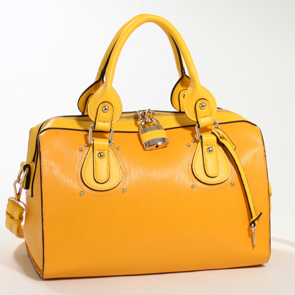 Yellow Emperia Studded Fashion Satchel Bag with Lock Accent & Bonus Strap