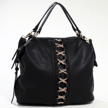 Emperia Studded Fashion Satchel Bag with Gold Chain Laced Accent & Bonus Strap - Black