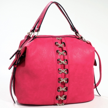 Emperia Studded Fashion Satchel Bag with Gold Chain Laced Accent & Bonus Strap - Fuchsia