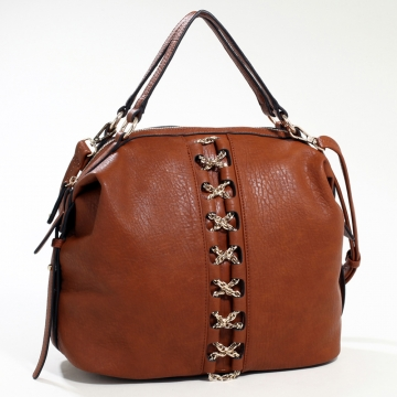 Emperia Studded Fashion Satchel Bag with Gold Chain Laced Accent & Bonus Strap - Brown