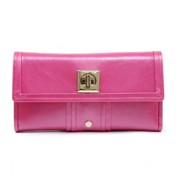 Anais Gvani ® Women's Genuine Leather Gold-Studded Checkbook Wallet - Pink