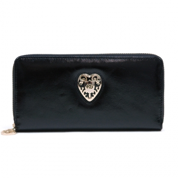 Women's Genuine Leather Zip-Around Wallet w/ Gold Kissed Heart Accent - Black