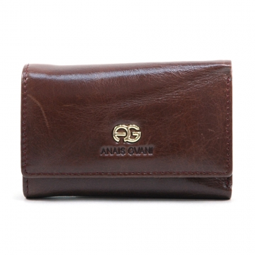 Anais Gvani ® Women's Classic Smooth Genuine Leather Mini Tri-Fold Wallet with Inside Hooks Compartment - Brown