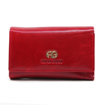 Anais Gvani ® Women's Classic Smooth Genuine Leather Mini Tri-Fold Wallet with Inside Hooks Compartment - Red