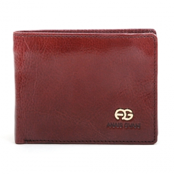 Anais Gvani ® Men's Classic Genuine Leather Bi-Fold Wallet with Semi-Shine - Brown