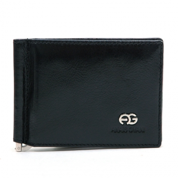 Anais Gvani ® Men's Genuine Leather Bi-Fold Wallet with Cash Clip & Semi-Shine - Black
