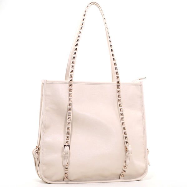 Beige Emperia Square Fashion Shoulder Bag with Studded Straps