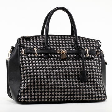 Emperia Woven Design Satchel Bag with Lock Accent - Black/Grey