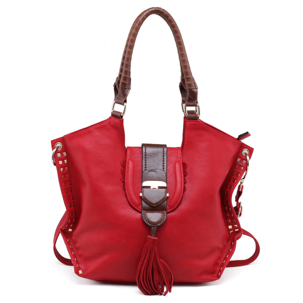 Emperia® Square Studded Shoulder Bag with Tassel Accent
