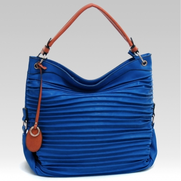 Emperia Women's Fashion Pleated Hobo Bag with Tassel Accent - Blue/Brown