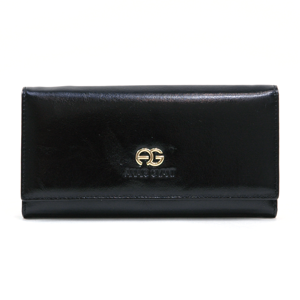 Anais Gvani® Tribeca Park Plated Logo Genuine Leather Wallet