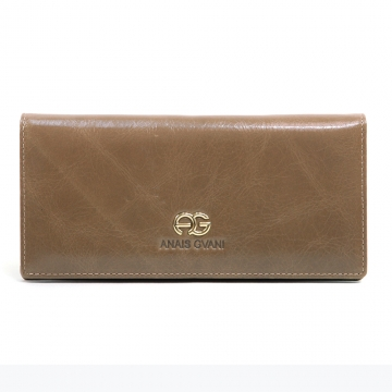 Women's Classic Genuine Leather Bi-fold Wallet w/ Signature Logo Accent - Deep Beige