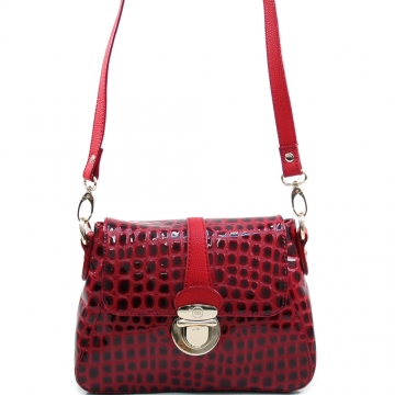 Anais Gvani ® Women's Buckled Patent Croco Crossbody Fashion Bag - Red