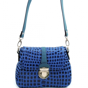 Anais Gvani ® Women's Buckled Patent Croco Crossbody Fashion Bag - Blue