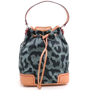 Anais Gvani ® Women's Camouflage Fashion Drawstring Tote Bag with Bonus Strap - Black/Grey
