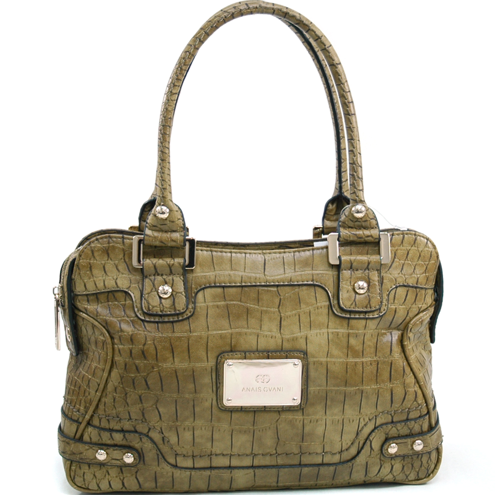Anais Gvani® Corona Park Wide Croco Shoulder Bag
