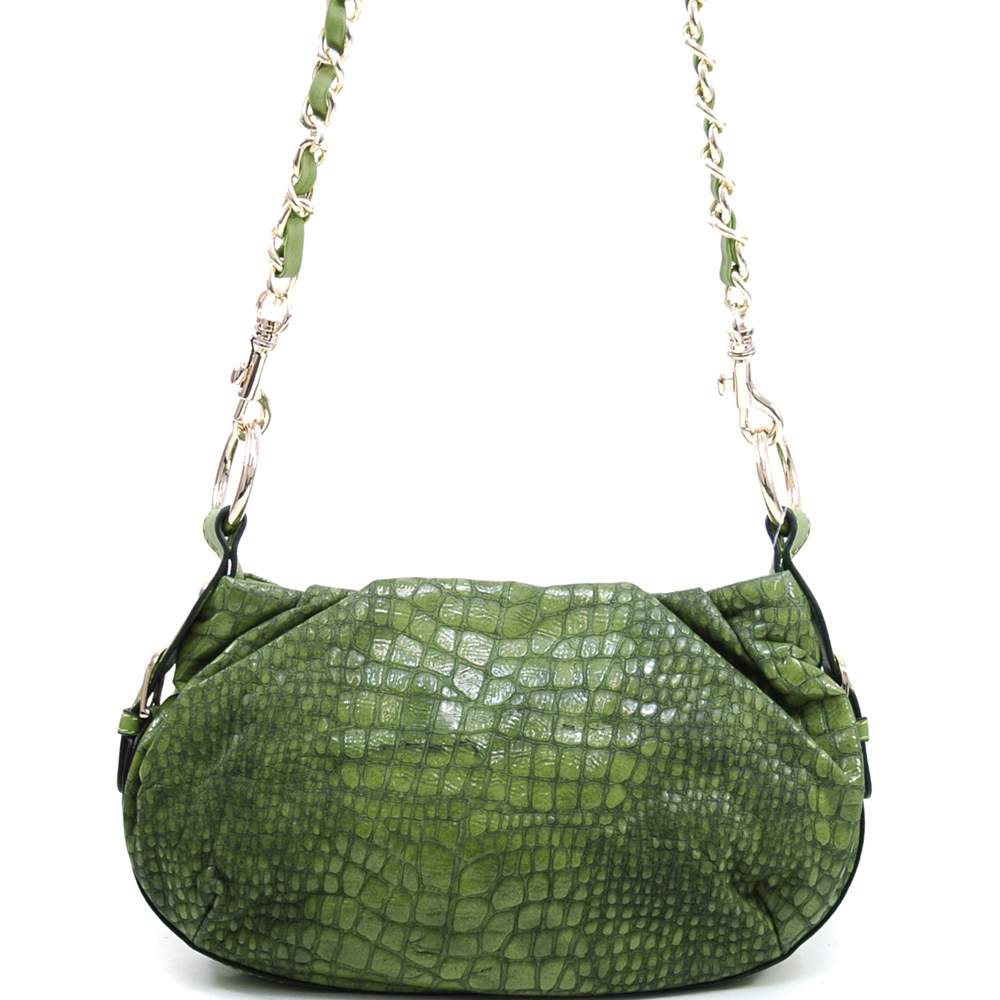 Anais Gvani ® Women's Petite Croco Cross Body/Shoulder Bag with Interchangeable Straps