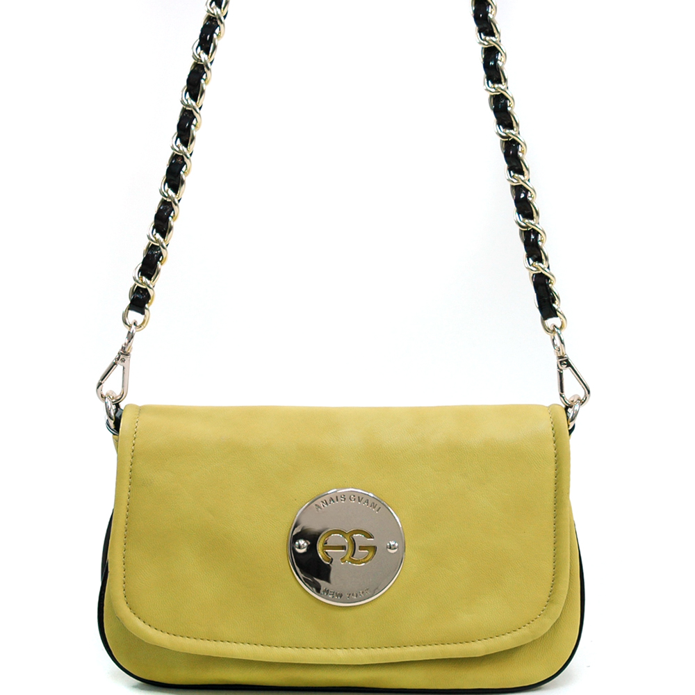 Women's Small Color Popping Shoulder Bag w/ Chain Straps - Yellow/Coffee