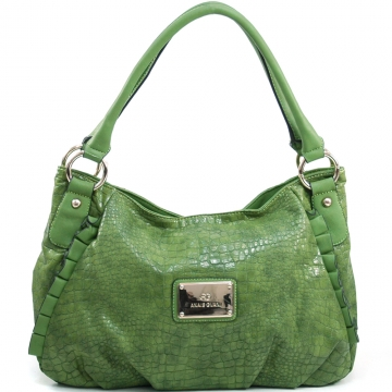 Anais Gvani ® Women's Classic Croco Shoulder Bag with Ruffle Accents - Green