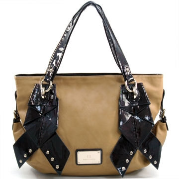 Anais Gvani ® Women's Large Two-Tone Tote Bag with Ribbon-like & Stud Accents - Tan/Coffee