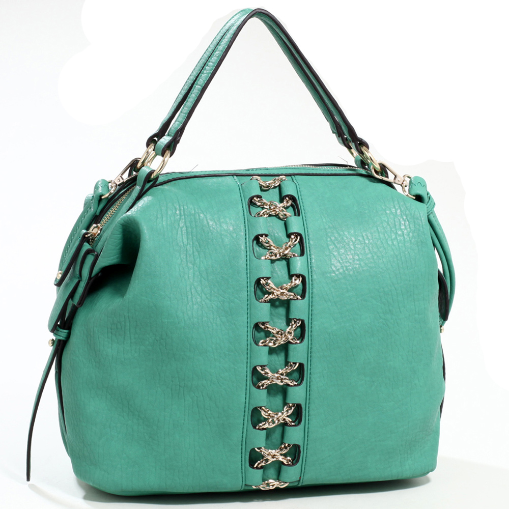 Emperia Studded Fashion Satchel Bag with Gold Chain Laced Accent & Bonus Strap
