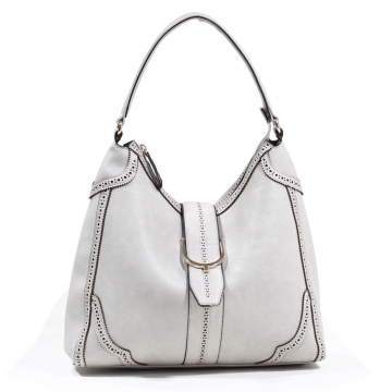 Emperia Women's Classic Fashion Hobo Bag with Cut Out Design - Light Grey