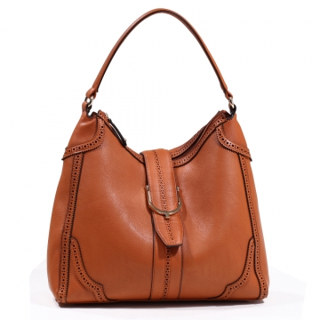 Emperia Women's Classic Fashion Hobo Bag with Cut Out Design - Brown