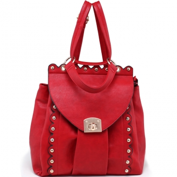 Alyssa Women's Gold Studded Convertible Satchel / Backpac-Red