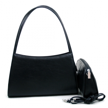 Women's Fashion Fine Textured Leather Look Like 2-in-1 Handbag